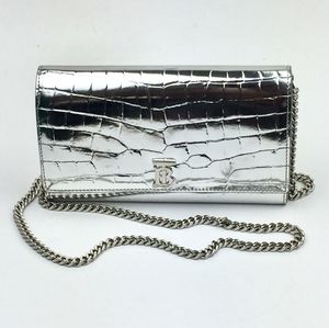 BURBERRY Hannah Croc Embossed Faux Leather
